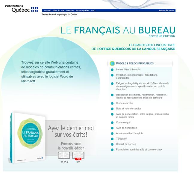 Publications Québec Le français au bureau 7e édition